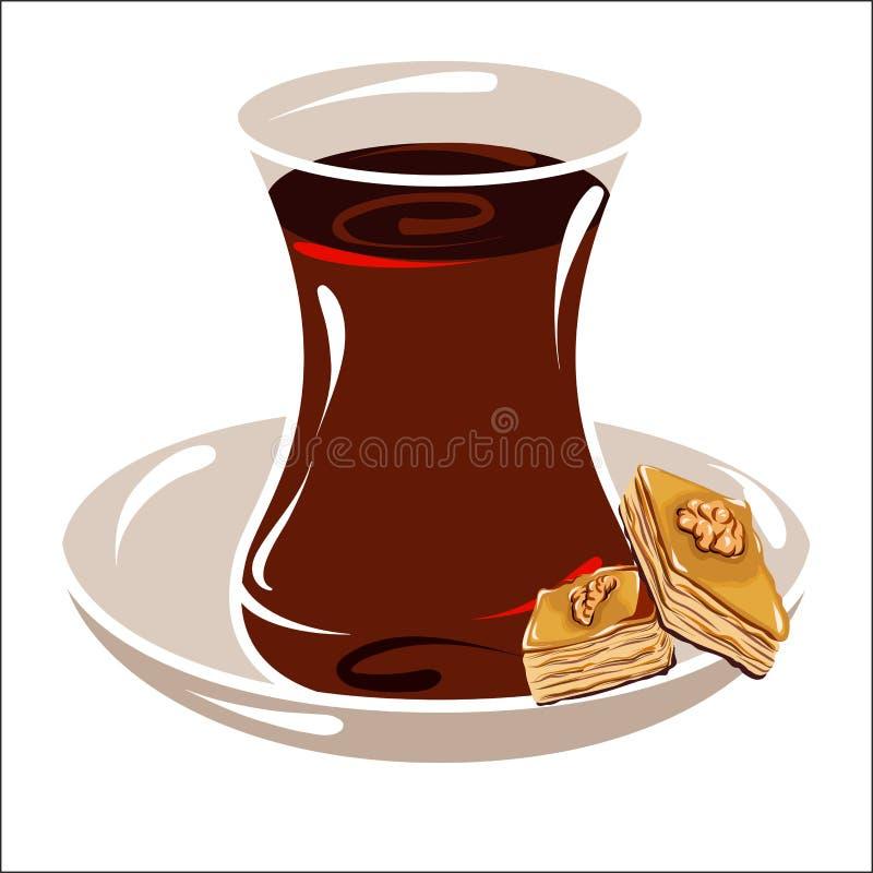 Taza turca con té en un platillo stock de ilustración