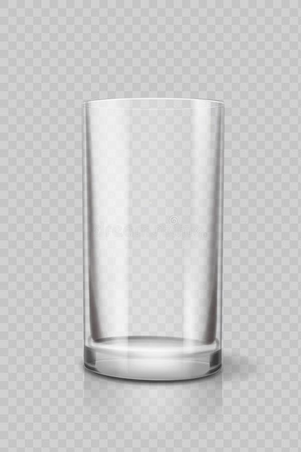 Taza vacía del vidrio de consumición para el agua Vector transparente stock de ilustración