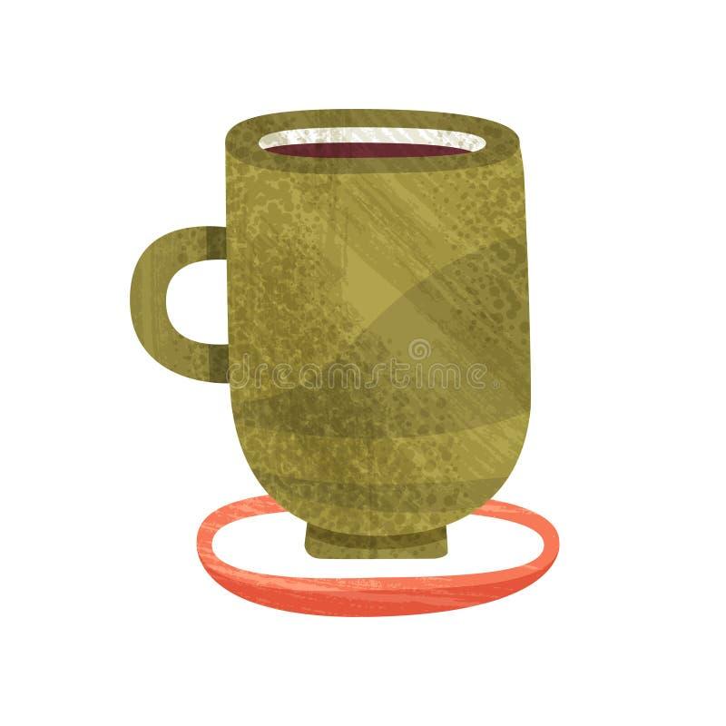 Taza verde con té Taza de café delicioso Bebida caliente Vector plano para el aviador del menú o de publicidad Icono colorido con stock de ilustración