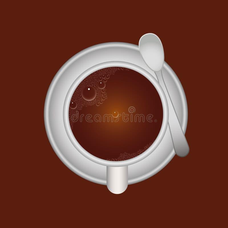Taza y cuchara de caf? ilustración del vector