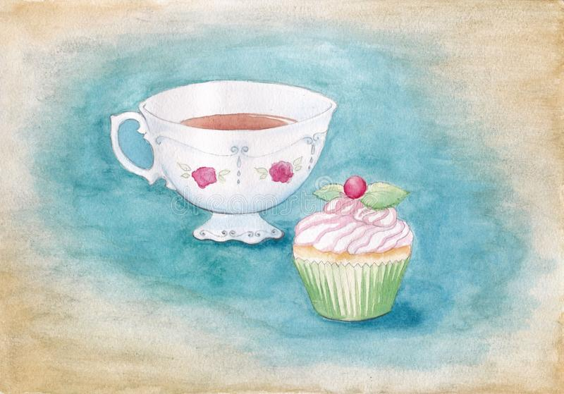 Taza y magdalena de té de la porcelana de la acuarela con las bayas en un fondo de la turquesa ilustración del vector