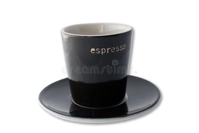 Taza y placa del café express aisladas imagenes de archivo