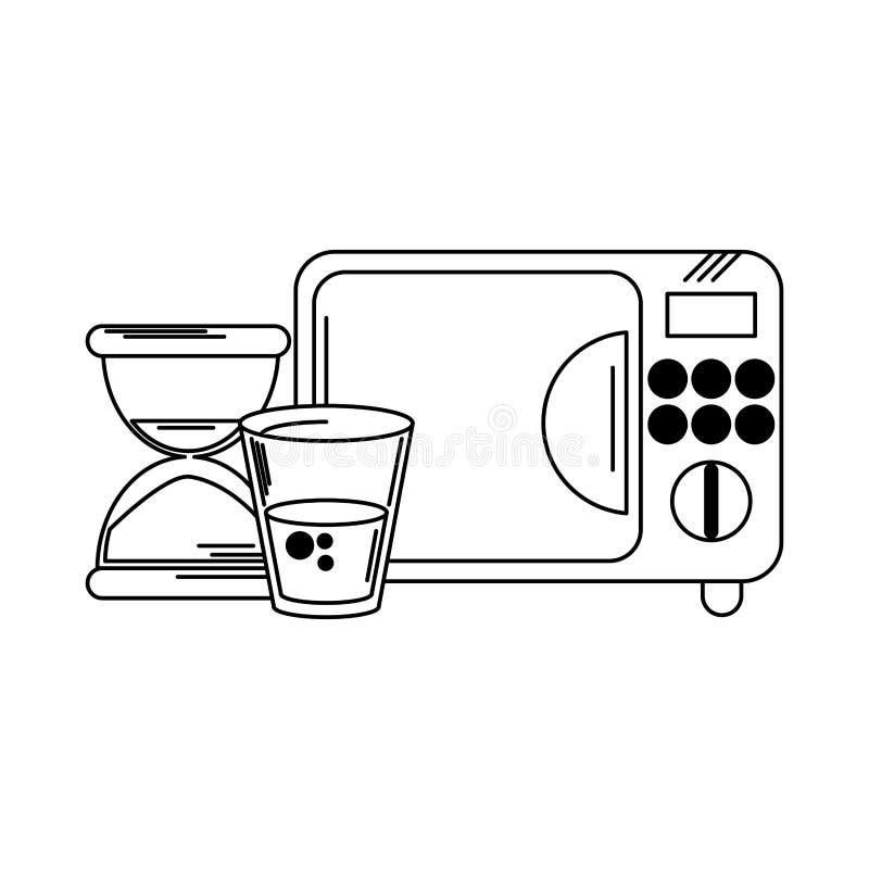 Taza y reloj de arena del agua de la microonda en blanco y negro ilustración del vector