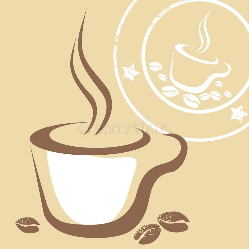 Taza y sello de café ilustración del vector