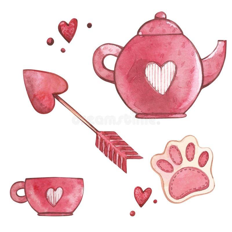 Taza y tetera rosadas con el corazón Sistema de la acuarela de los elementos para el día del ` s de la tarjeta del día de San Val ilustración del vector