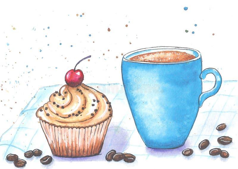 Taza y torta azules de café en una servilleta a cuadros pintada con las acuarelas en un fondo blanco ilustración del vector