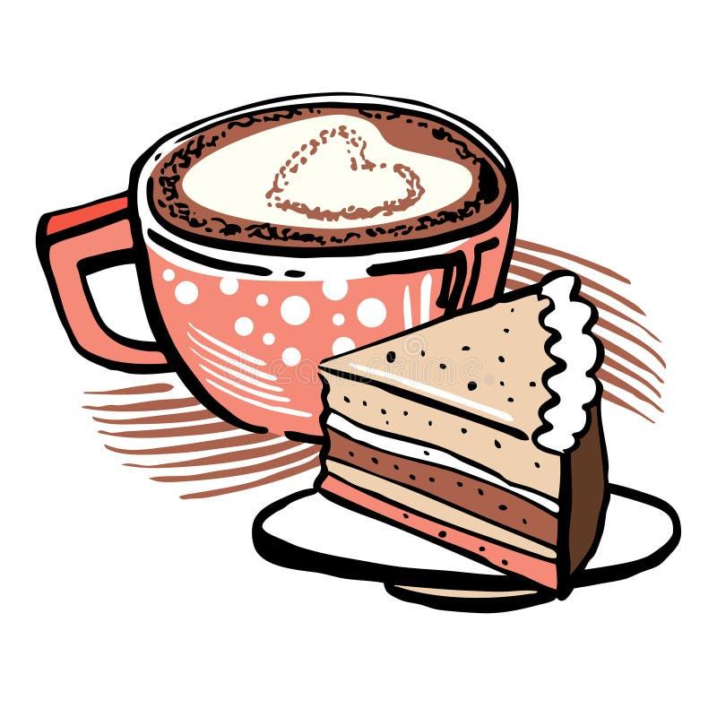 Taza y torta de café Ejemplo estilizado exhausto del vector del sletch de la mano del esquema con los terraplenes de color stock de ilustración