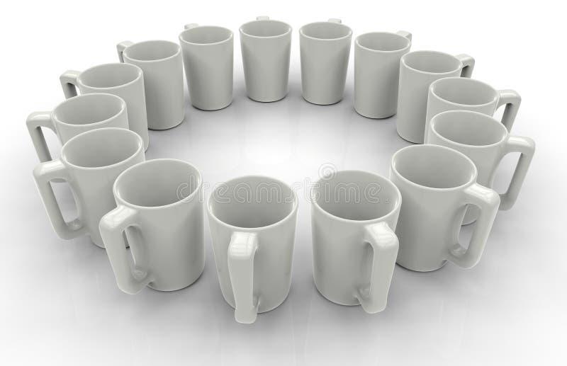 Tazas blancas en un modelo circular stock de ilustración