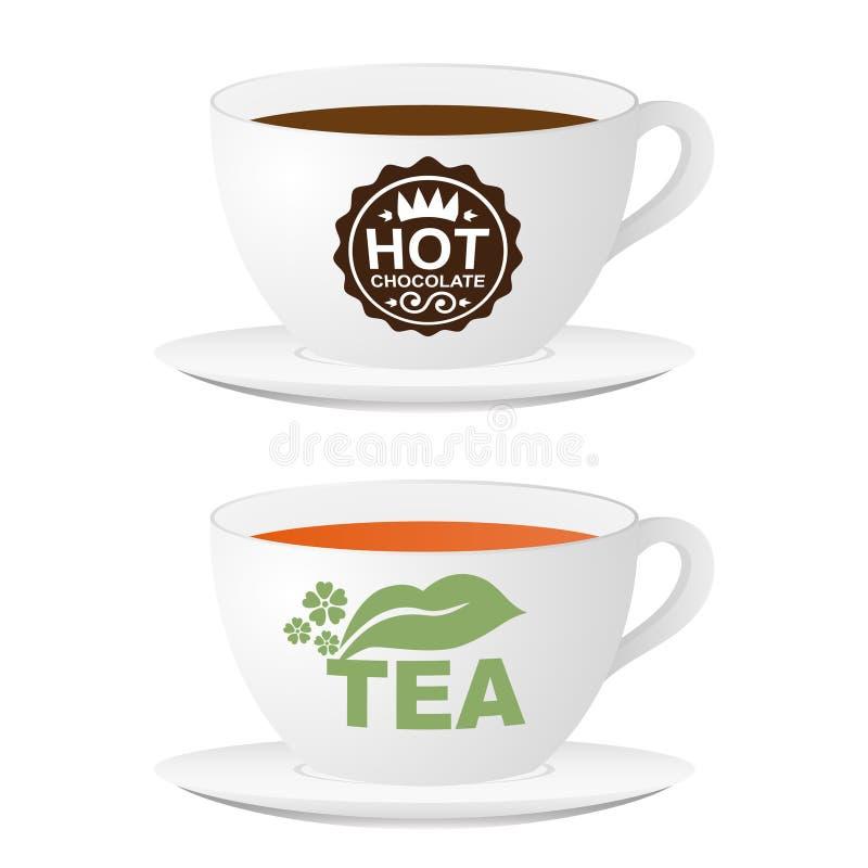 Tazas con el chocolate caliente y el té de la insignia ficticia libre illustration