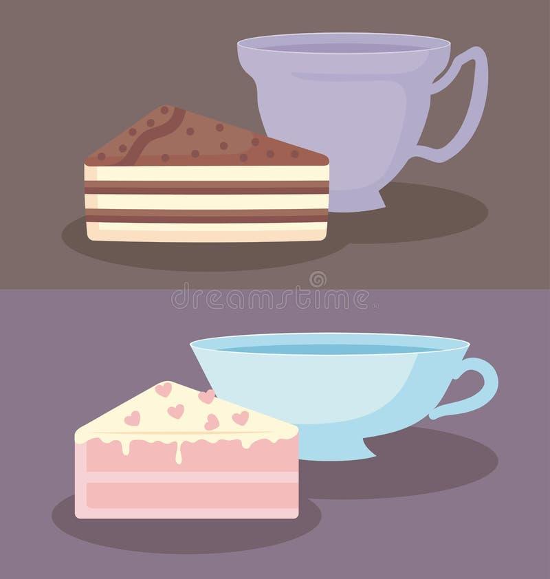 Tazas con las rebanadas de torta dulce ilustración del vector