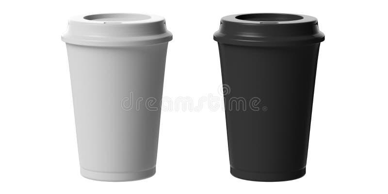 Tazas de café blancos y negros, 2, con una tapa, recorte, aislado en un fondo blanco, ejemplo 3d libre illustration