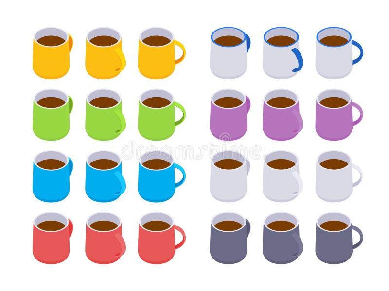 Tazas de café coloreadas isométricas ilustración del vector