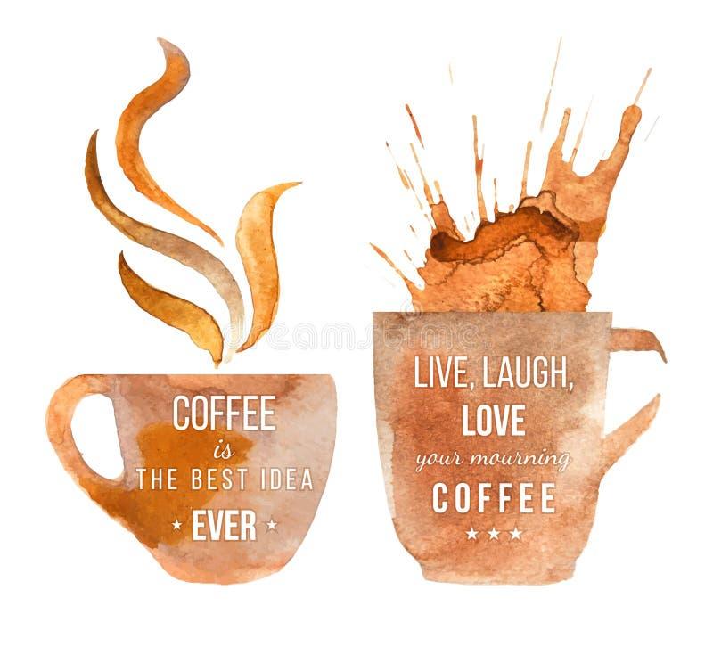 Tazas de café de la acuarela con el tipo libre illustration