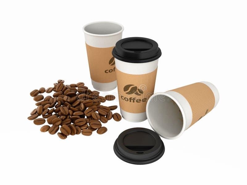 Tazas de café de papel con los granos de café sin las sombras en el fondo blanco 3d ilustración del vector