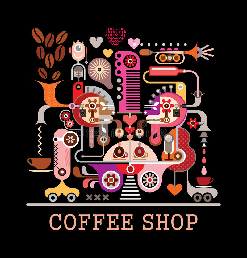 Tazas de café y granos de café frescos alrededor libre illustration