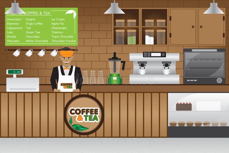 Tazas de café y granos de café frescos alrededor stock de ilustración