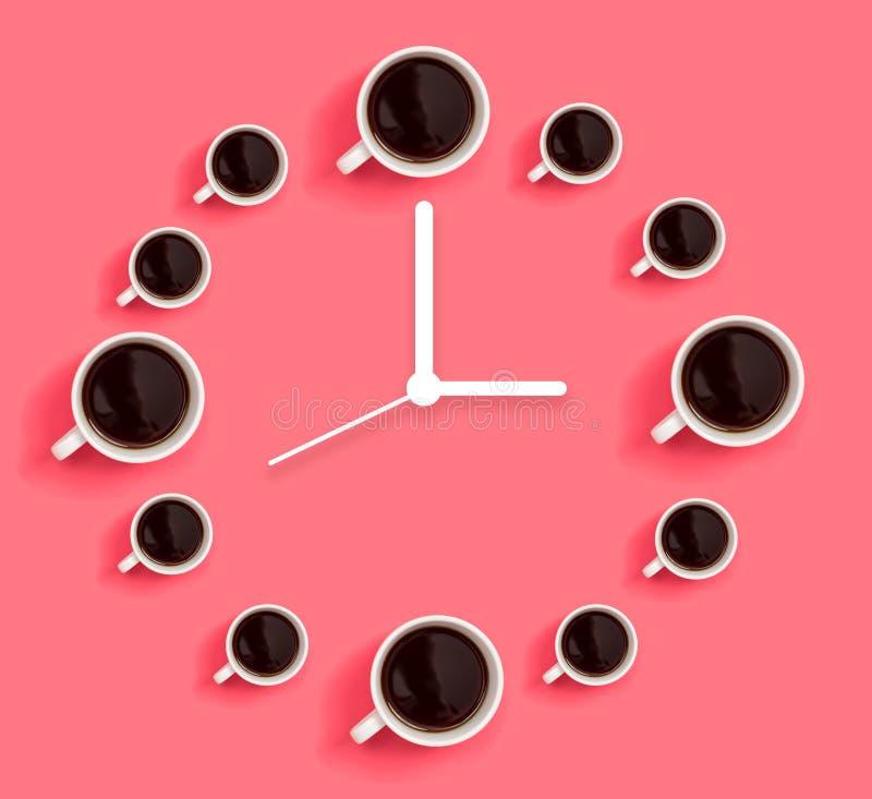 Tazas de caf? con el reloj stock de ilustración