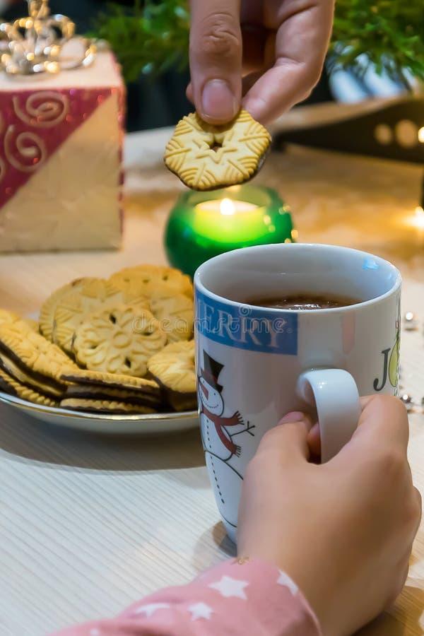 Tazas de la Navidad, chocolate caliente y galletas foto de archivo