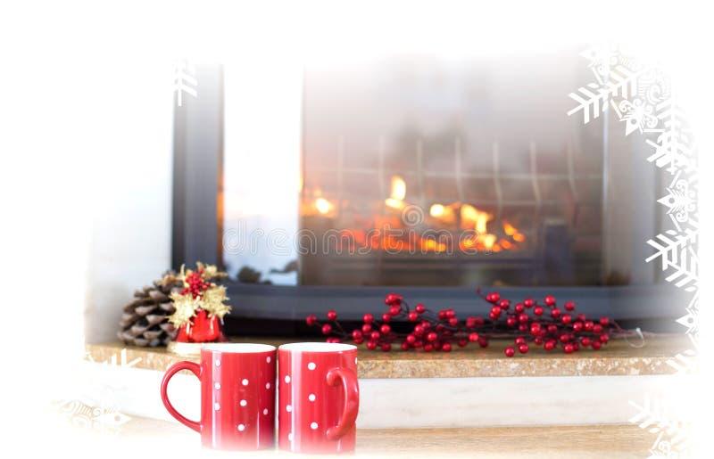 Tazas de té del invierno fotografía de archivo libre de regalías