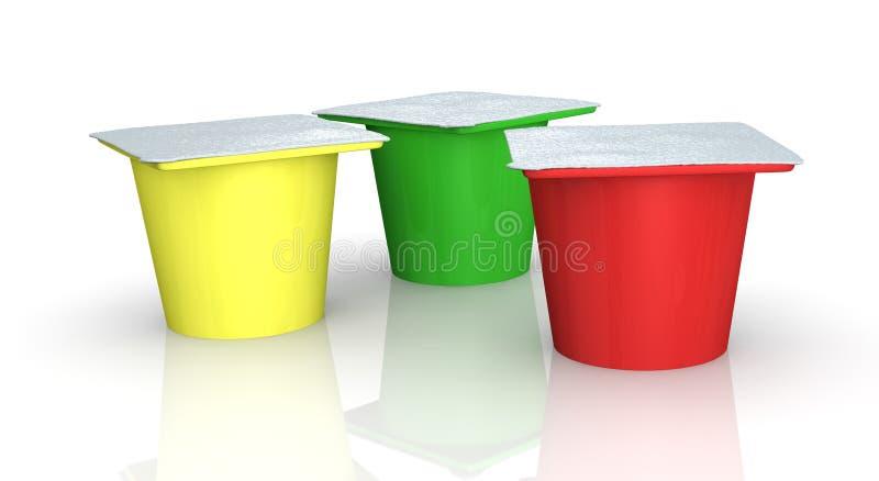 Tazas del yogur ilustración del vector