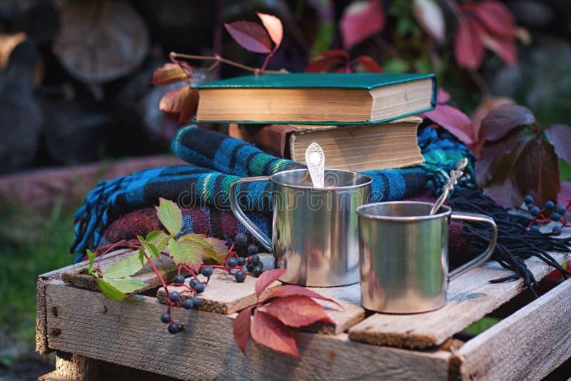 Tazas, libros y telas escocesas metálicos fotos de archivo libres de regalías