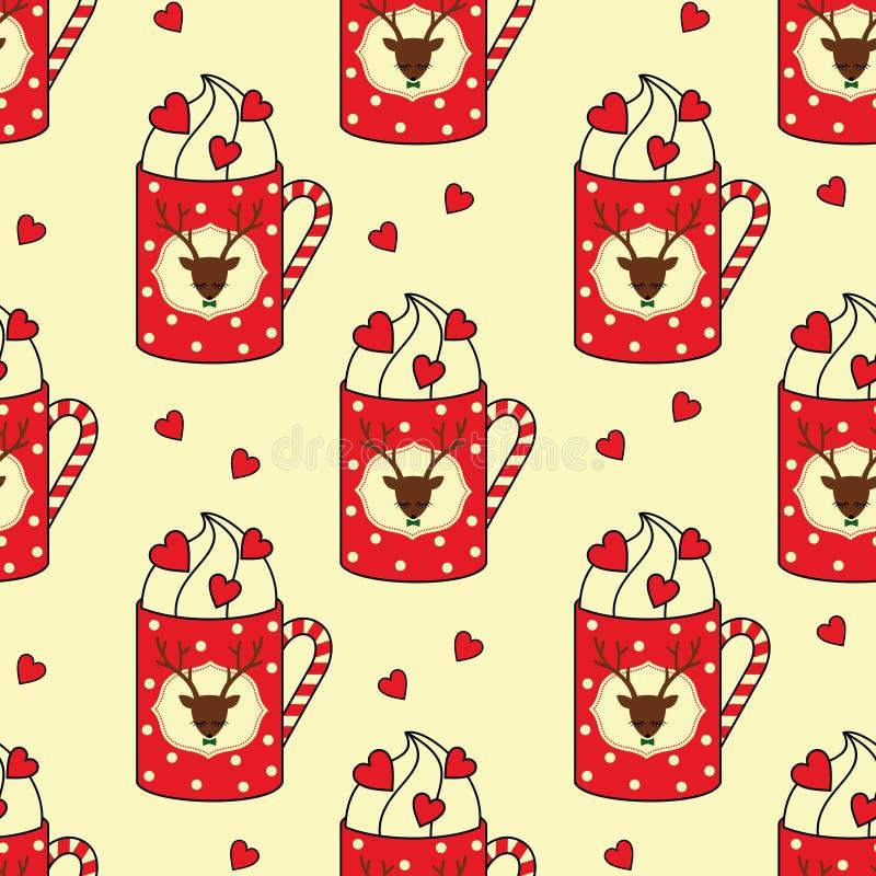 Tazas lindas con los ciervos, bastón de caramelo, modelo inconsútil de los corazones ilustración del vector