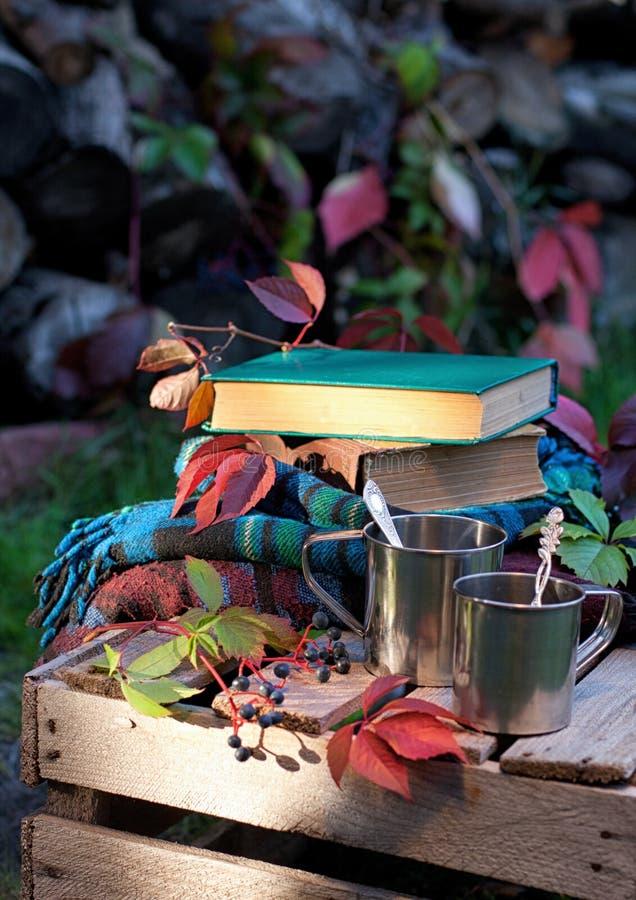 Tazas metálicas, libros y telas escocesas, verticales fotos de archivo