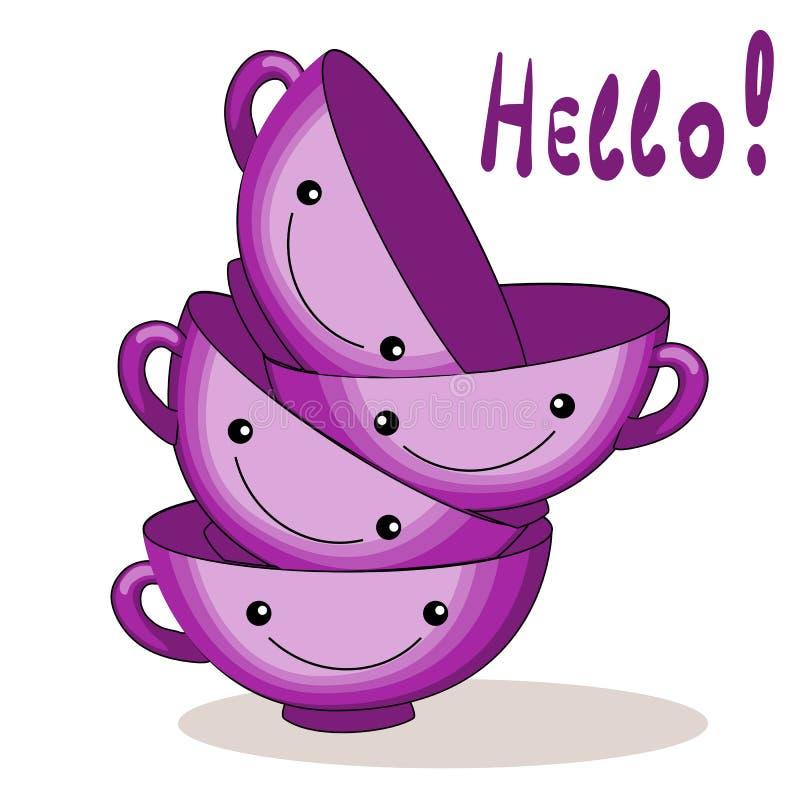 Tazas rosadas Caracteres divertidos para la plantilla del desayuno para la postal, la impresión o el cartel iconos de la comida e libre illustration