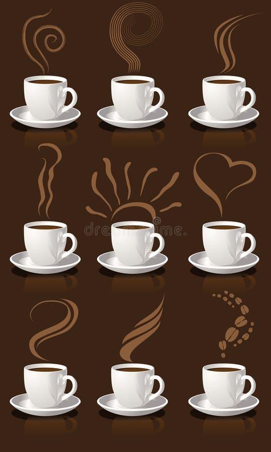 Tazas y vapor de café ilustración del vector