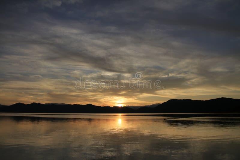 Tazawa wieczór jeziorna scena zdjęcie royalty free