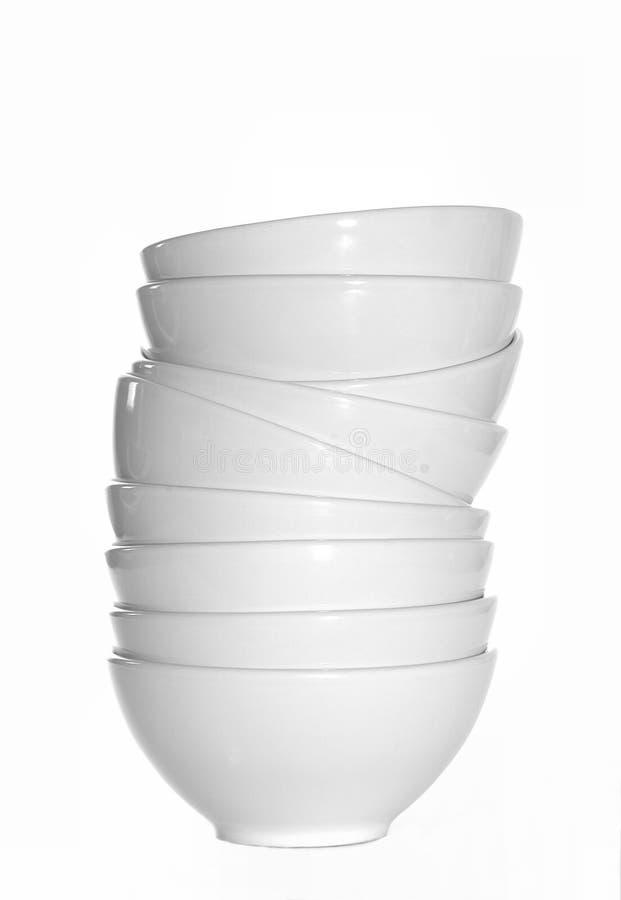 Tazones De Fuente Blancos Empilados Foto de archivo libre de regalías