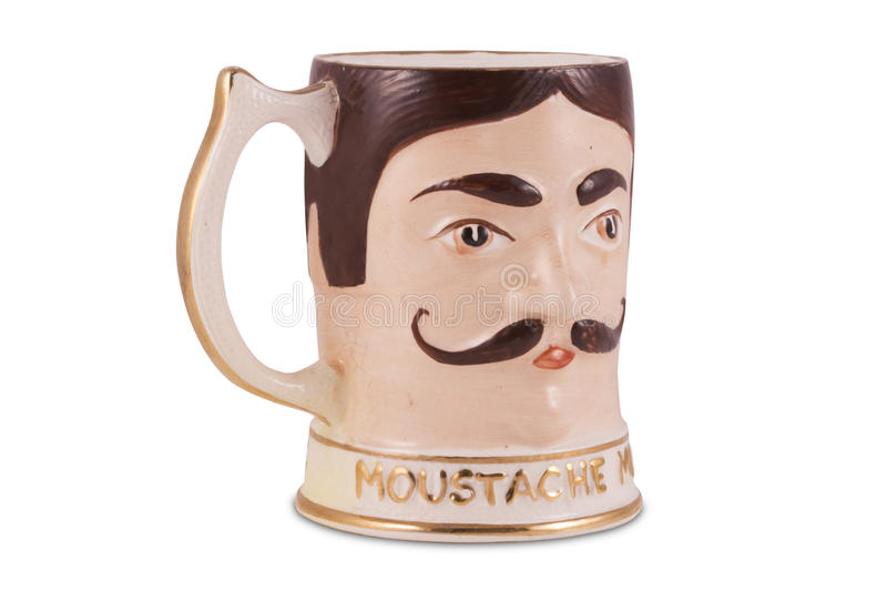 Tazza antica del Moustache immagine stock