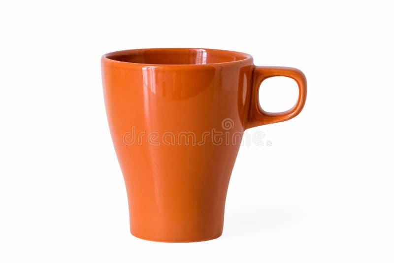 Tazza arancio isolata fotografia stock libera da diritti