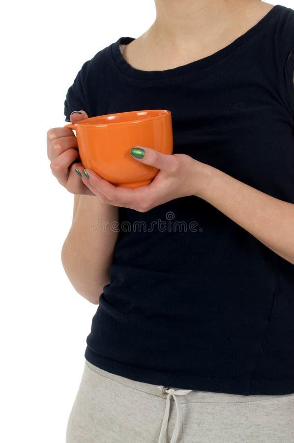 Tazza arancione fotografia stock libera da diritti