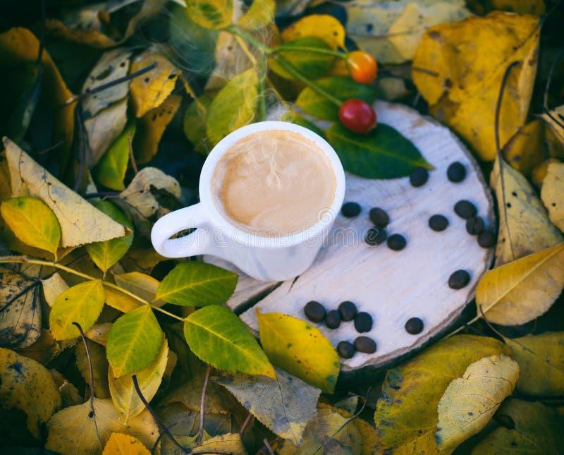 Tazza bianca con il caffè del caffè espresso su un ceppo di legno fotografia stock libera da diritti
