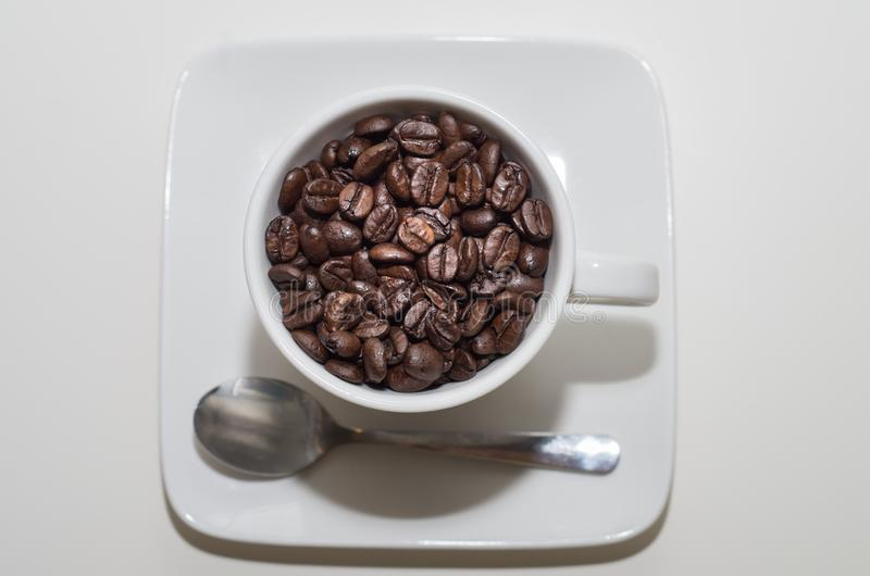 Tazza bianca piena sui chicchi di caffè immagine stock libera da diritti