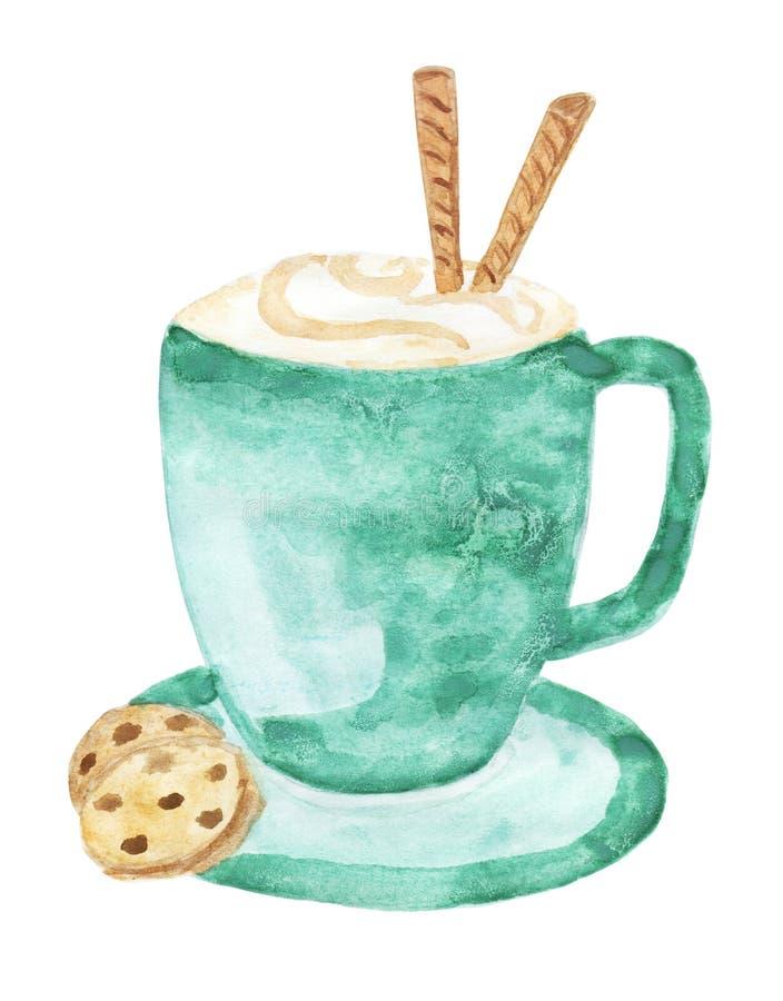 Tazza ceramica del turchese di cappuccino con la guarnizione della schiuma del latte, decorata con i rotoli del wafer royalty illustrazione gratis