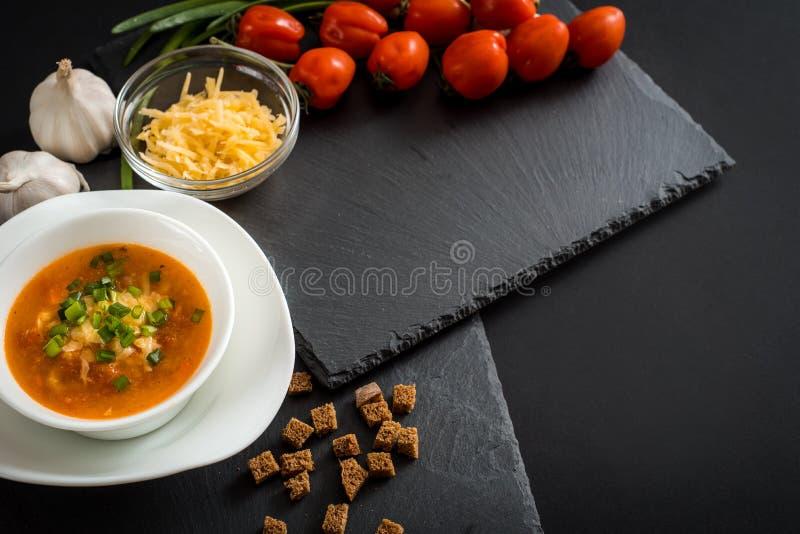 Tazza ceramica della minestra di zuppa di verdure fredda del pomodoro con la salsa, il sale ed il basilico verdi di pesto sopra i fotografia stock