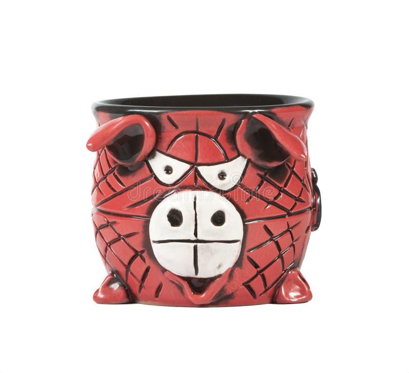 Tazza ceramica rossa immagine stock