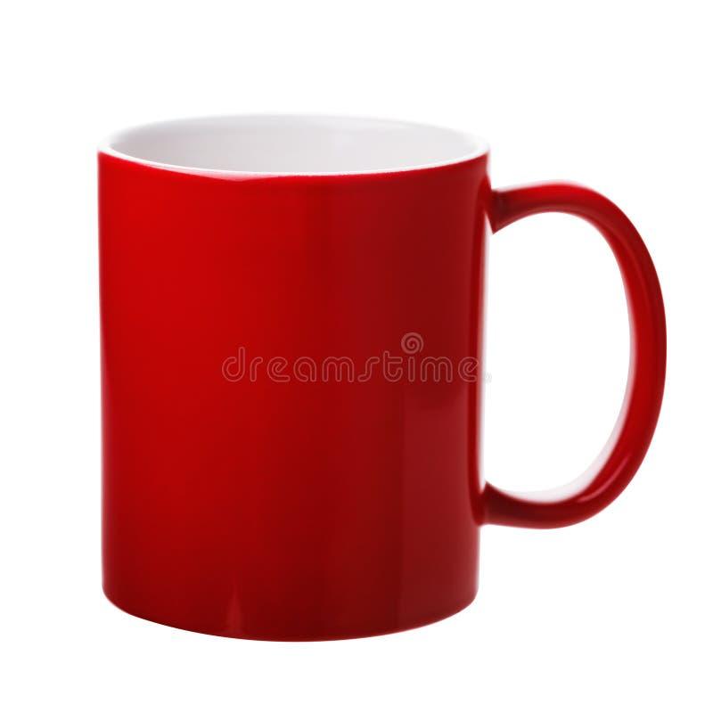 Tazza ceramica rossa isolata immagini stock