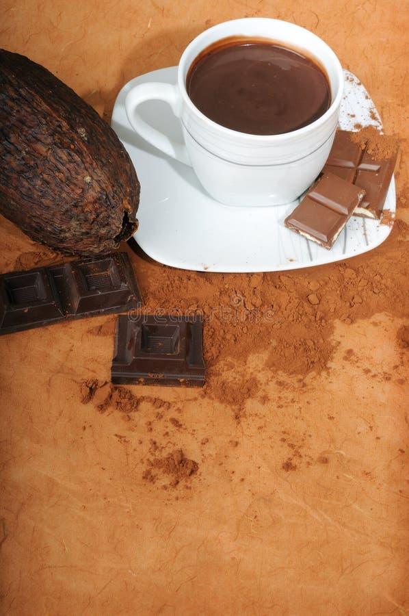 Tazza con cioccolato e cacao immagine stock libera da diritti