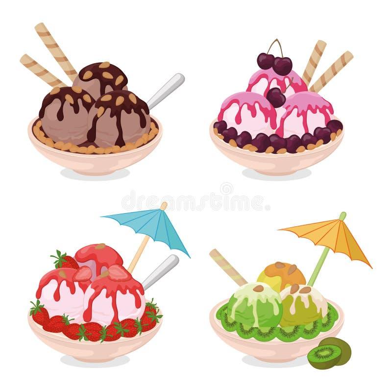 Tazza con il gelato, i wafer, le fragole ed i dadi illustrazione di stock