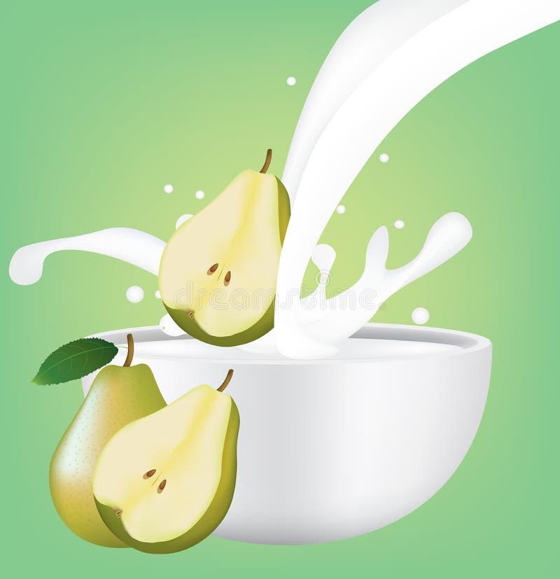 Tazza con il latte della spruzzata con la pera illustrazione di stock