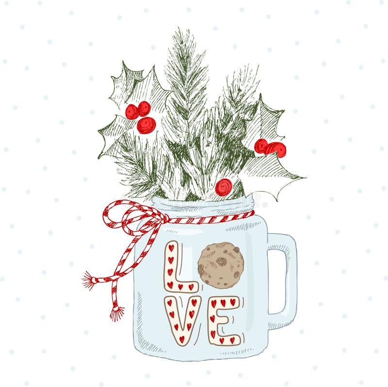 Tazza con le piante di Natale Amore di parola dell'iscrizione con il biscotto Cuoco unico Concetto di Natale royalty illustrazione gratis