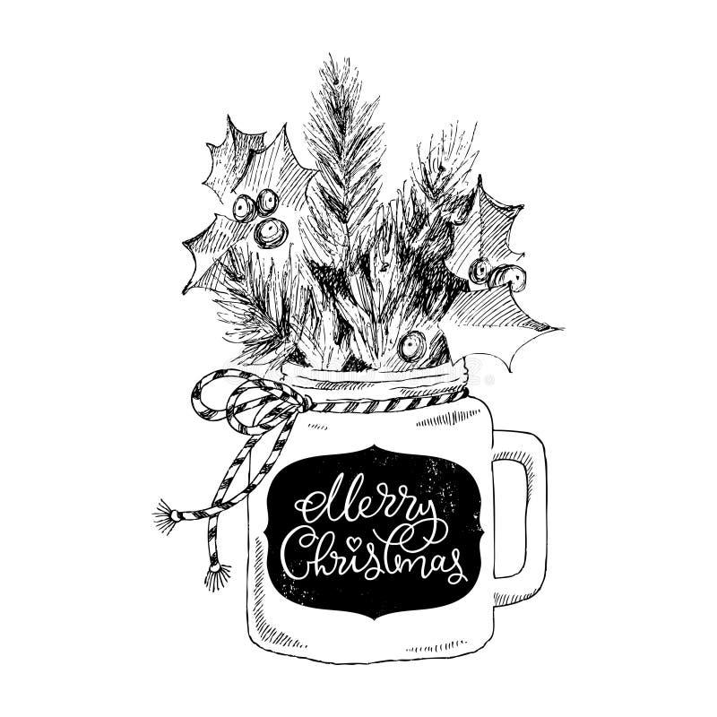 Tazza con le piante di Natale Buon Natale di frase dell'iscrizione Cuoco unico Concetto di Natale illustrazione di stock