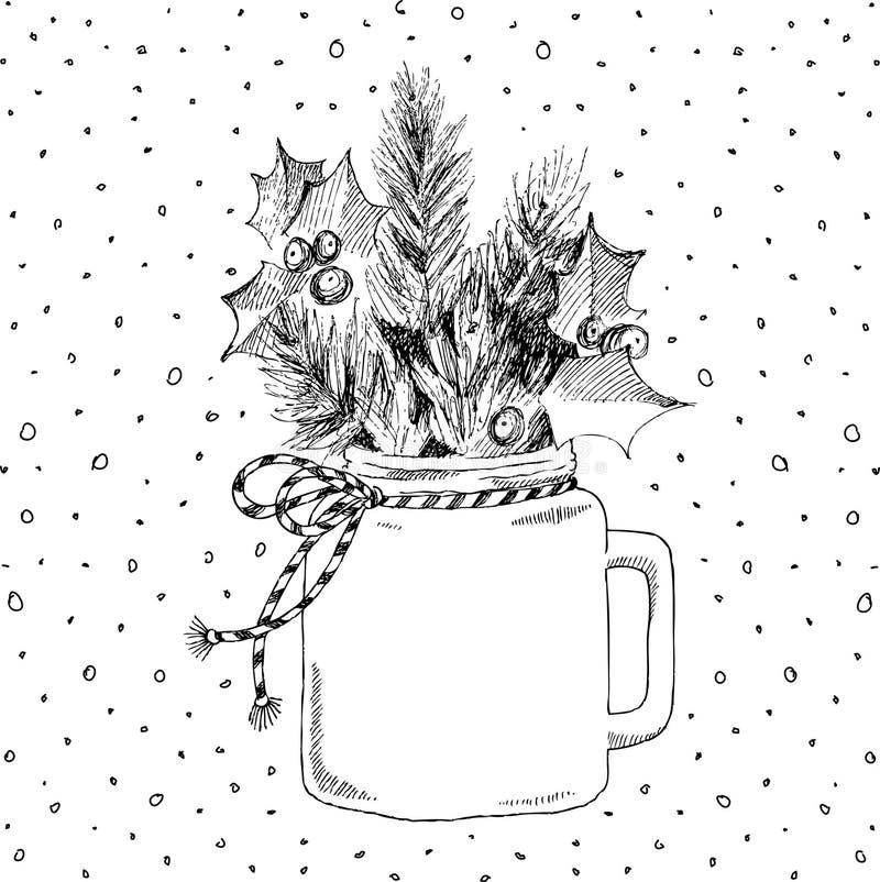 Tazza con le piante di Natale Cuoco unico Concetto di Natale royalty illustrazione gratis