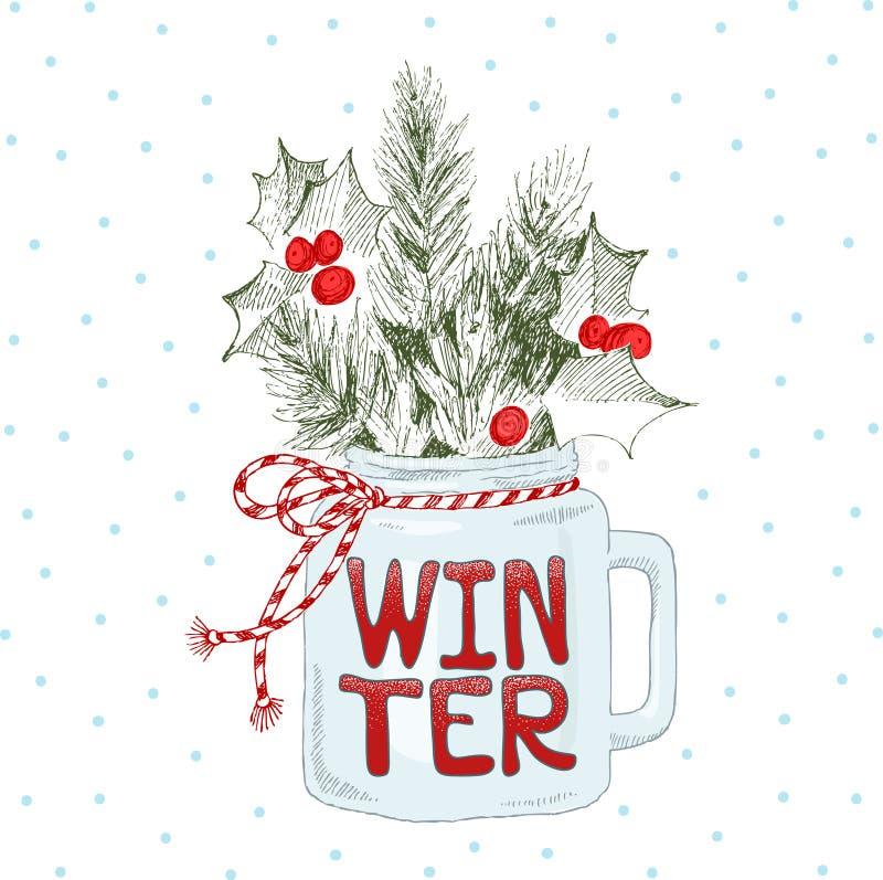 Tazza con le piante di Natale Inverno di frase dell'iscrizione illustrazione vettoriale