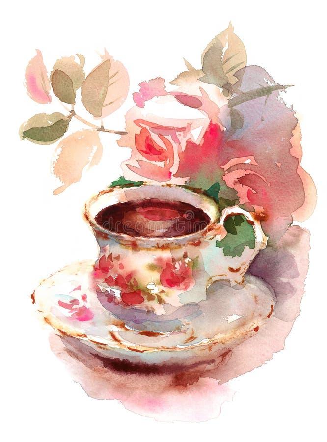 Tazza d'annata della porcellana dell'illustrazione di natura morta dell'acquerello delle rose e di Berry Tea disegnata a mano illustrazione di stock
