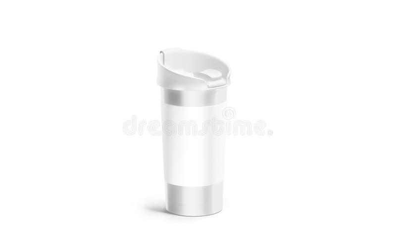 Tazza d'argento in bianco di viaggio con il modello bianco del coperchio e della manica royalty illustrazione gratis