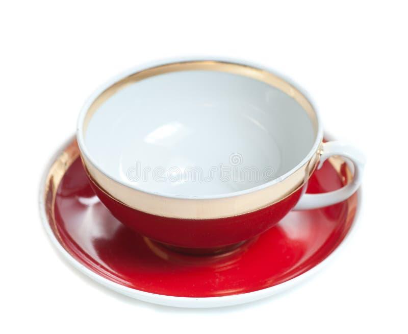 tazza da the rosso vuoto su fondo bianco fotografia stock
